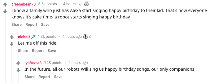 A screenshot from Reddit in which posters describe robots singing Happy Birthday to kids.